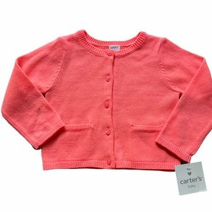 NWT! Carter's Coral Pink Cardigan Sweater